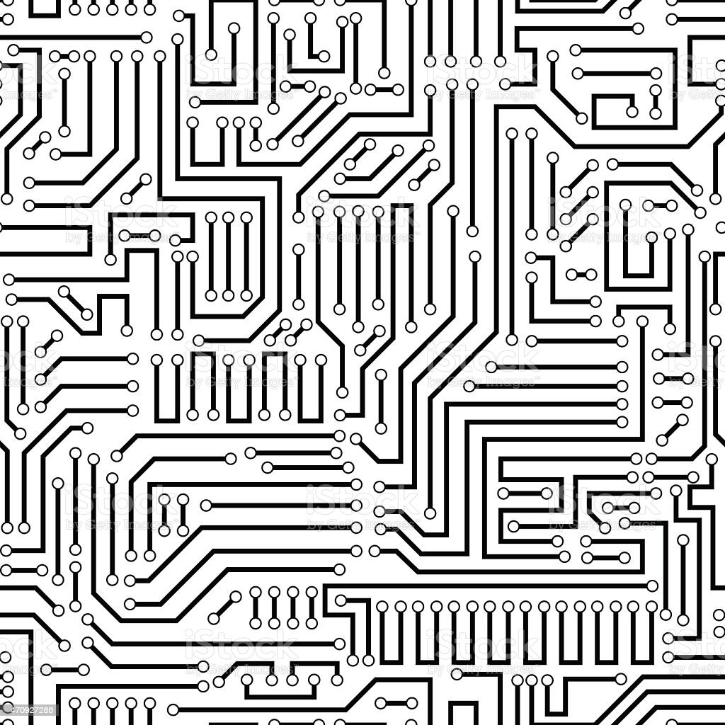Seamless Pattern Of A Black Circuit Board Stock Vector Art