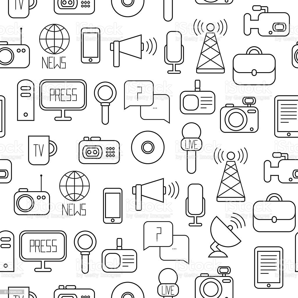 Seamless Pattern Of Of Flat Vector Journalism Icons Mass