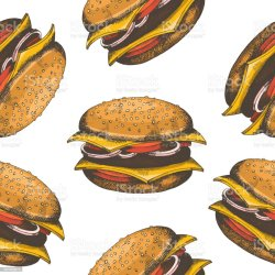 Seamless Pattern With Hand Drawn Burgers Vector Fast Food Background Design For Menu Advertising And Banners Sketch Pattern Can Be Used For Wallpaper Web Page Background Surface Textures Stock Illustration Download