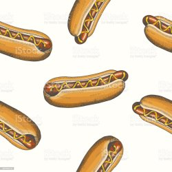 Seamless Pattern With Hand Drawn Hot Dog Vector Fast Food Background Design For Menu Advertising And Banners Sketch Pattern Can Be Used For Wallpaper Web Page Background Surface Textures Stock Illustration