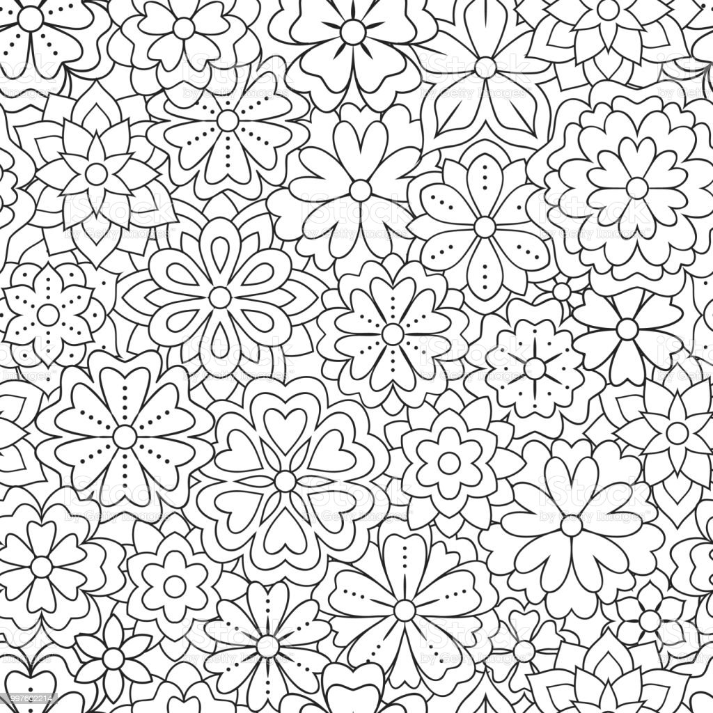 Seamless Pattern With Outline Flowers For Coloring Book