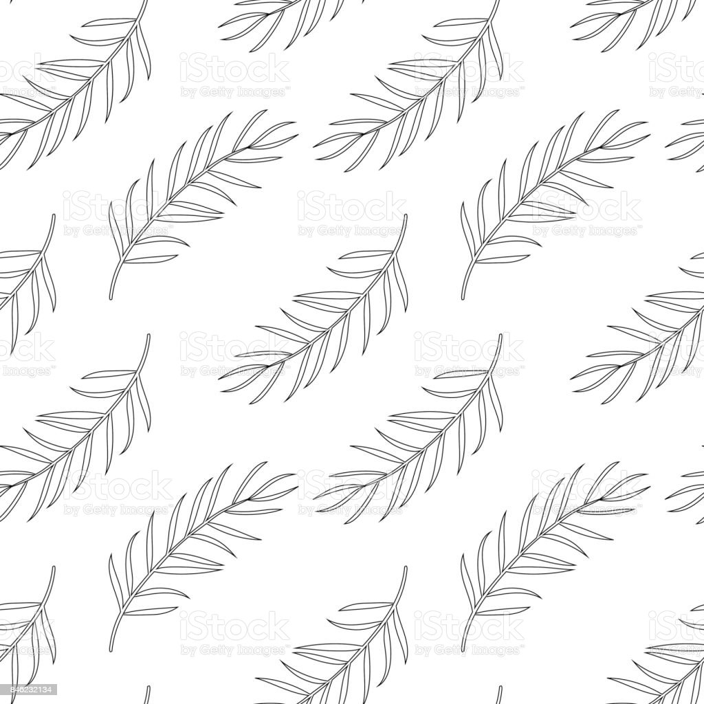 Seamless Pattern With Palm Leaf Coloring Page For Adults