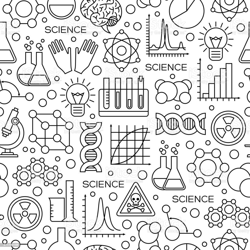 Seamless Pattern With Science Line Icons Stock Vector Art