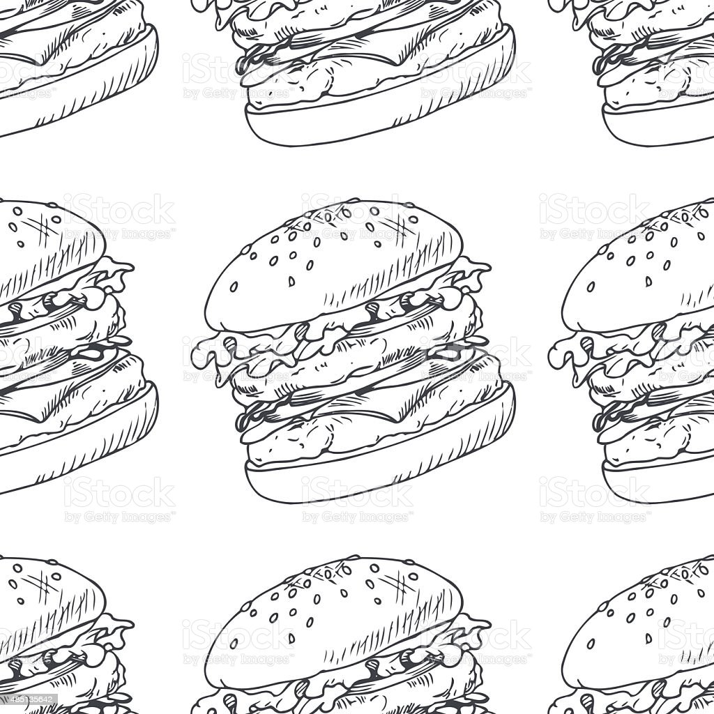 seamless pattern with sketched