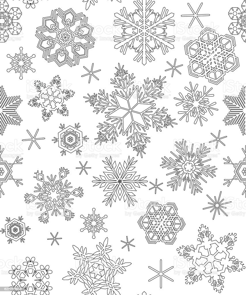 Seamless Pattern With Snowflakes Adult Coloring Stock