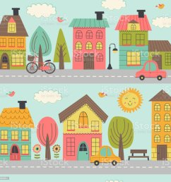 small town street clipart [ 1024 x 1024 Pixel ]