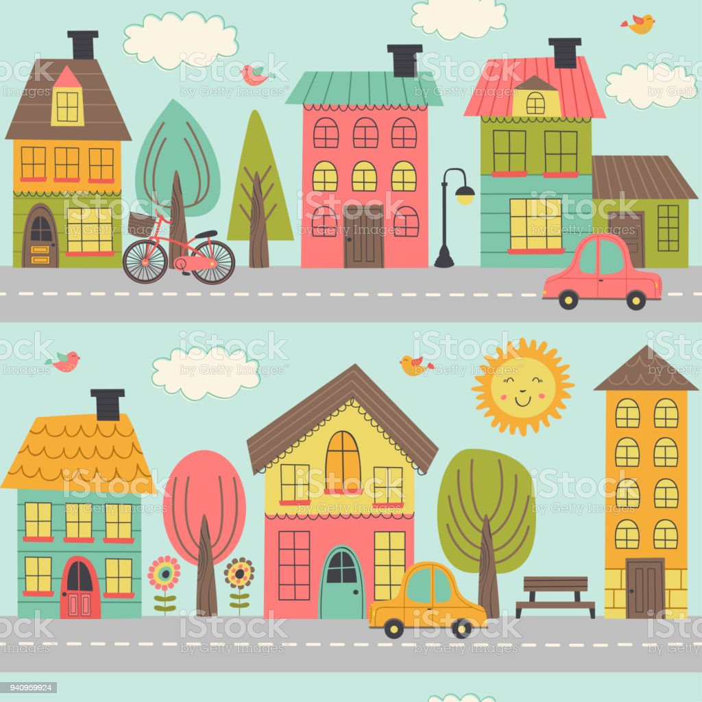 hight resolution of small town street clipart