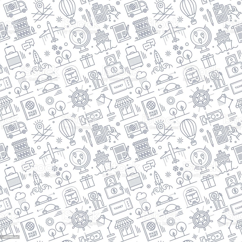Seamless Travel Pattern Stock Vector Art & More Images of