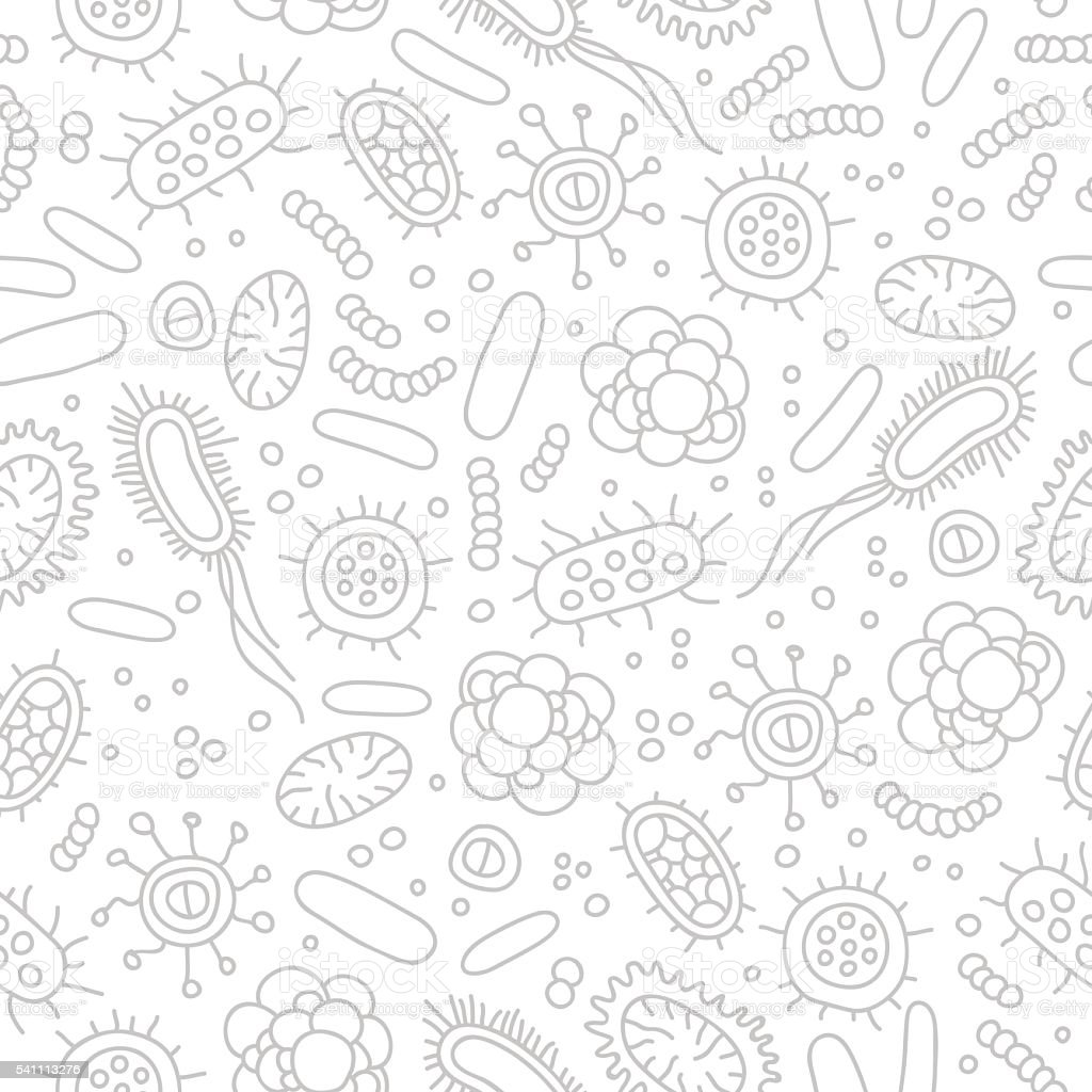 Seamless Vector Pattern Of Germs And Bacteria Stock