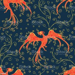 Seamless Vector Pattern With Phoenix On Blue Background Majestic Fire Bird Wallpaper Design With Curved Lines Mythical Creature Fashion Textile Stock Illustration Download Image Now iStock