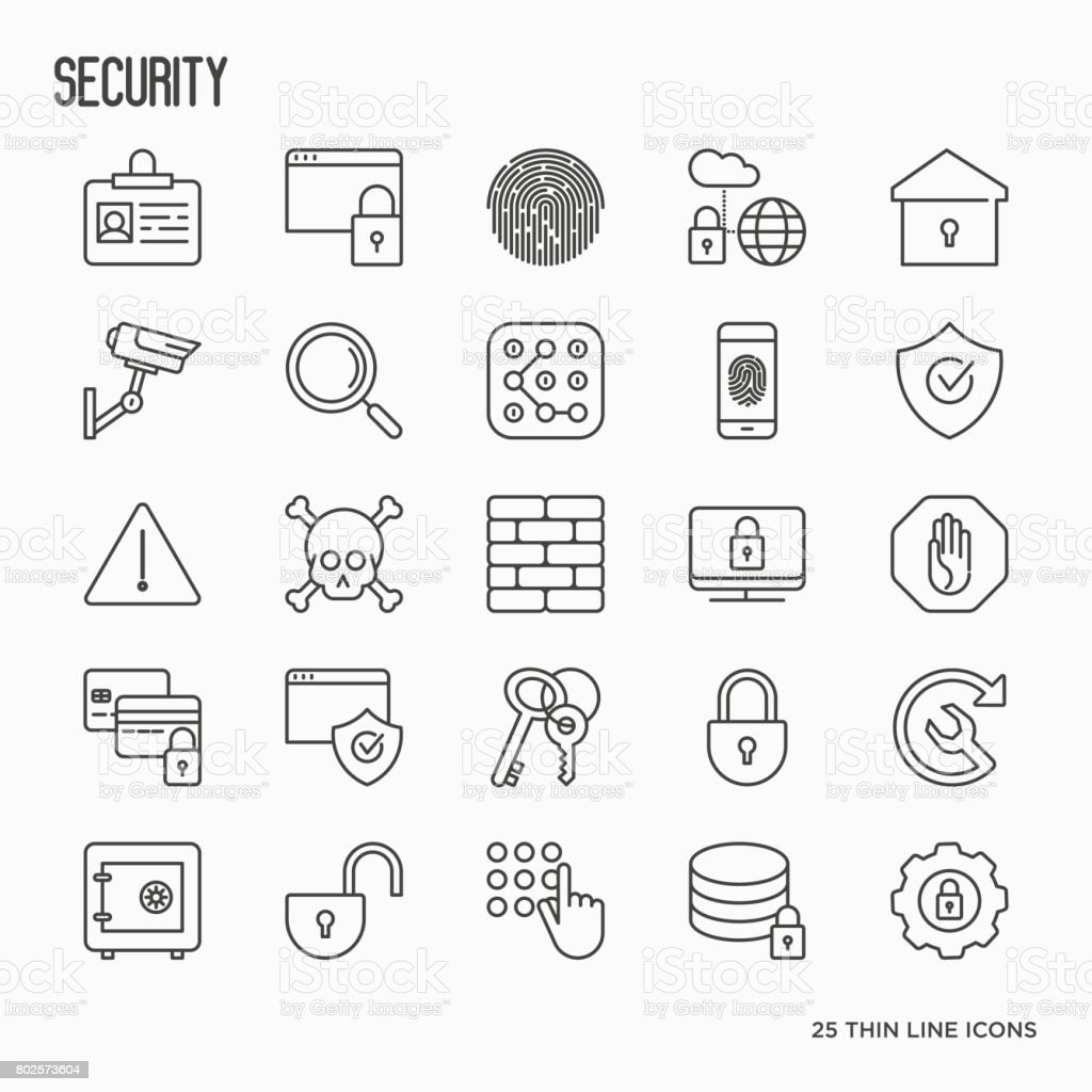 Security And Protection Thin Line Icons Set Data