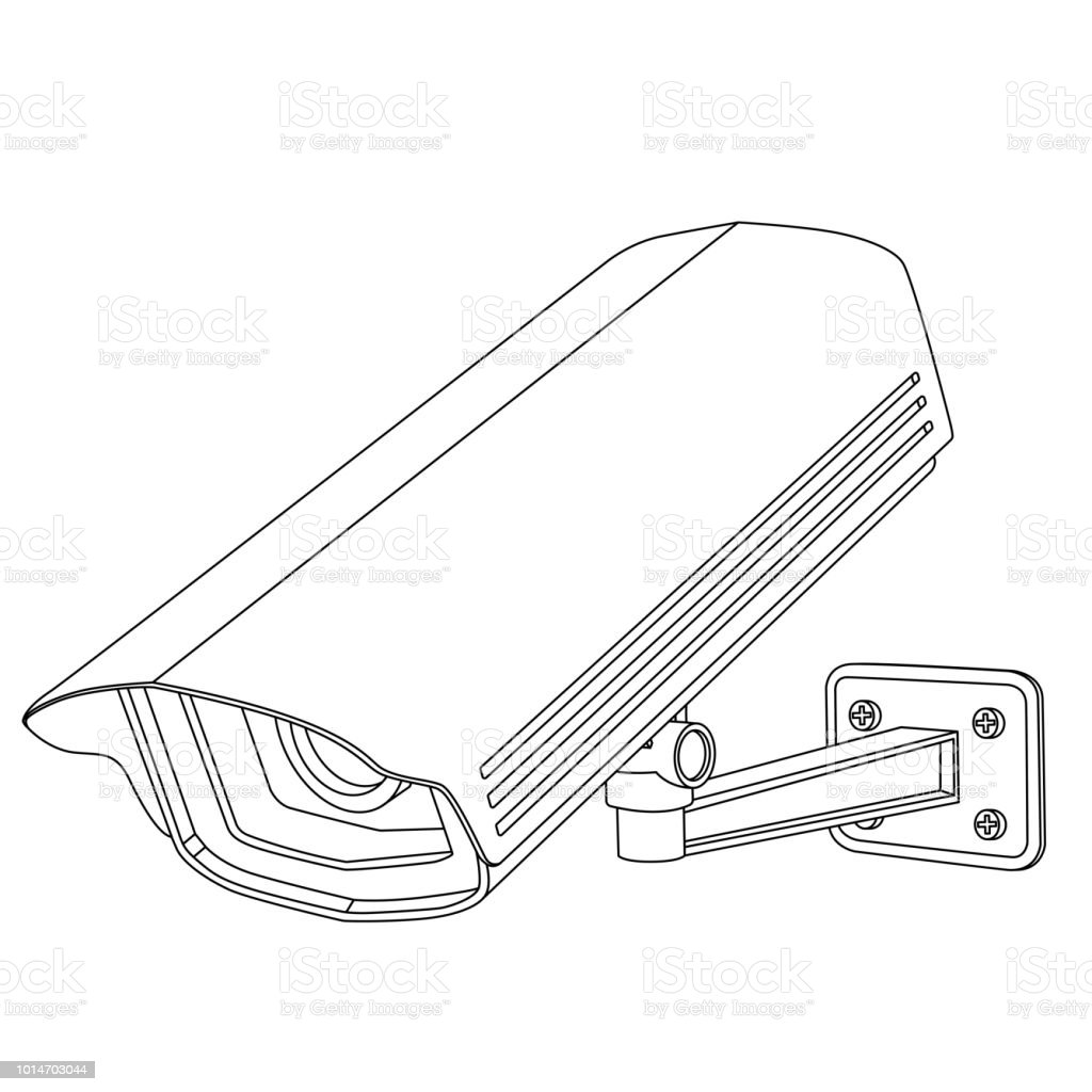 Cctv Security Camera Outline Drawing Stock Vector Art