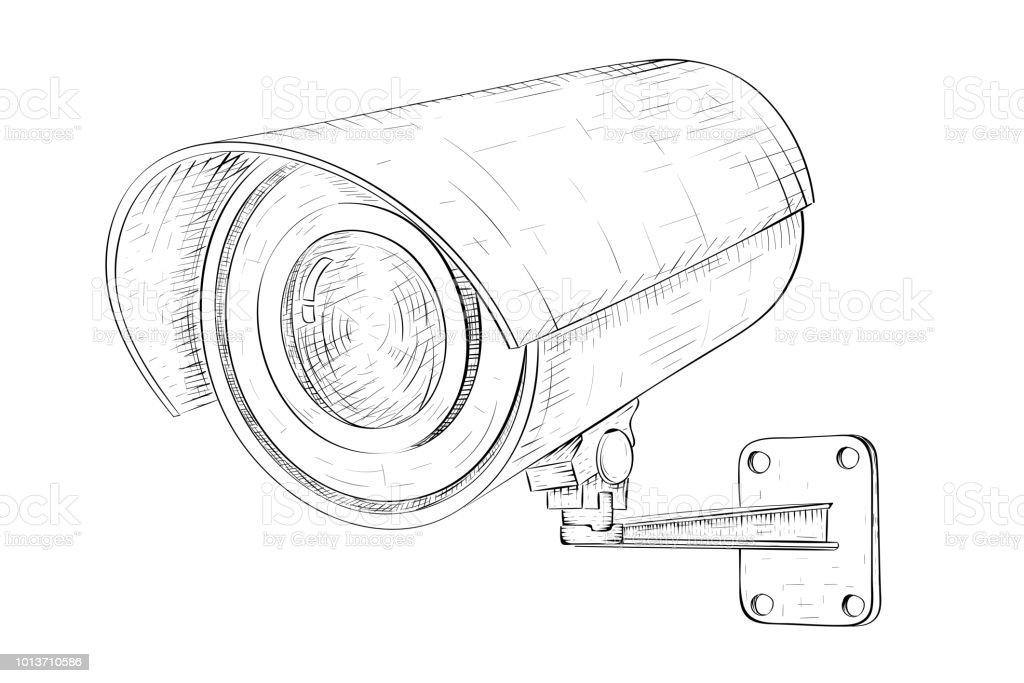 Security Cctv Camera Hand Drawn Sketch Stock Vector Art