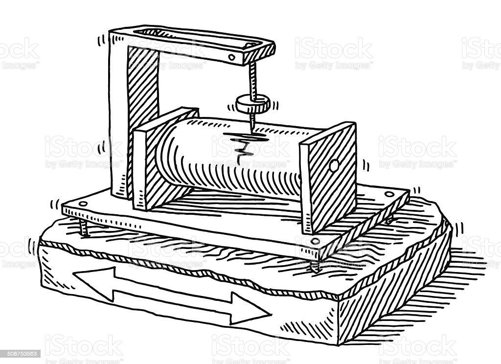 Seismograph Earthquake Detection Drawing stock vector art