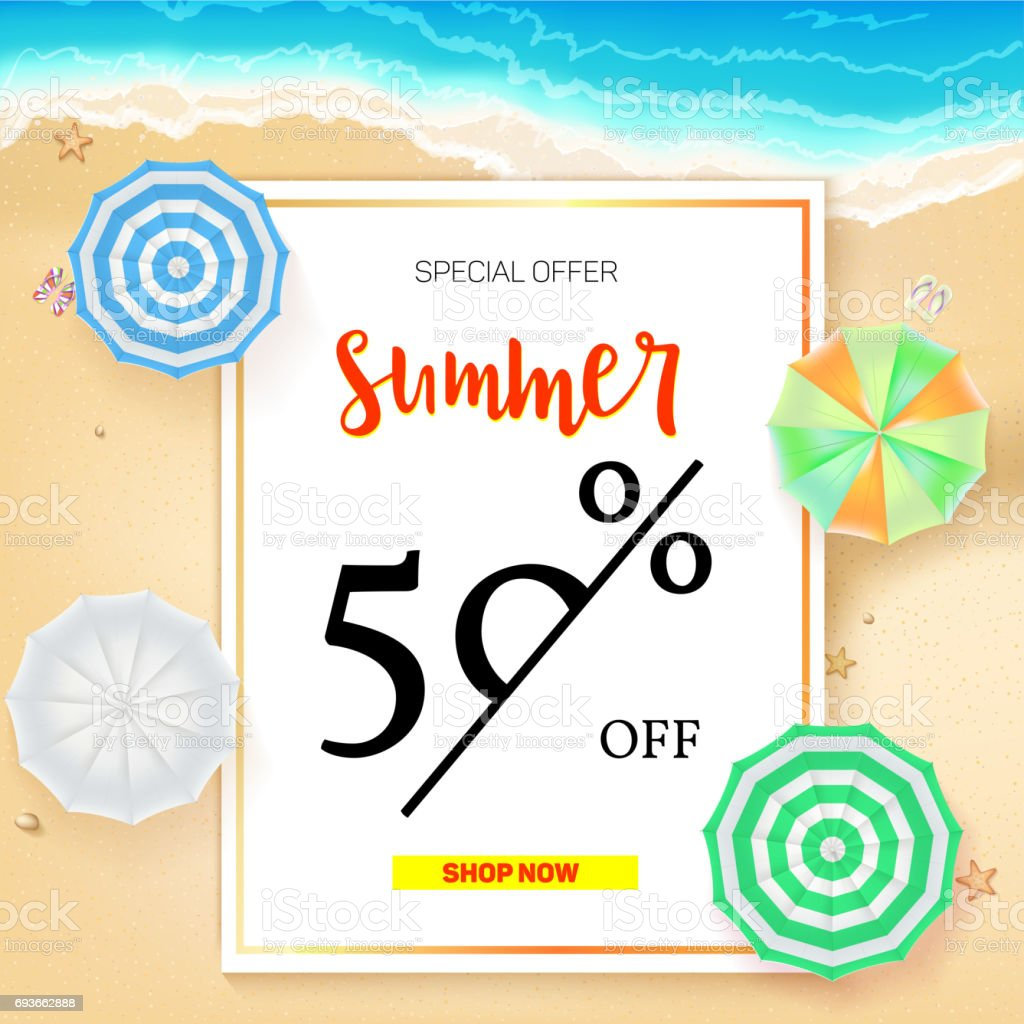 Selling Ad Banner Vintage Text Design Summer Vacation Discounts Sale Background Of The Sandy Beach And The Sea Shore Template For Online Shopping Advertising Actions With Percentage Of Discounts Stock Illustration