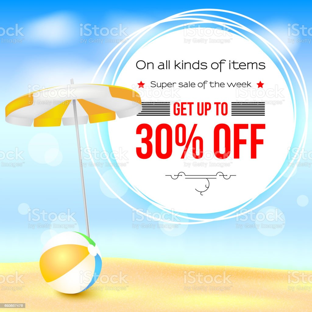 Selling Ad Banner Vintage Text Design Thirty Percent Summer Vacation Discounts The Sandy Beach Background With Sun Umbrella And Bouncy Ball Template For Online Shopping Advertising Actions Stock Illustration Download Image