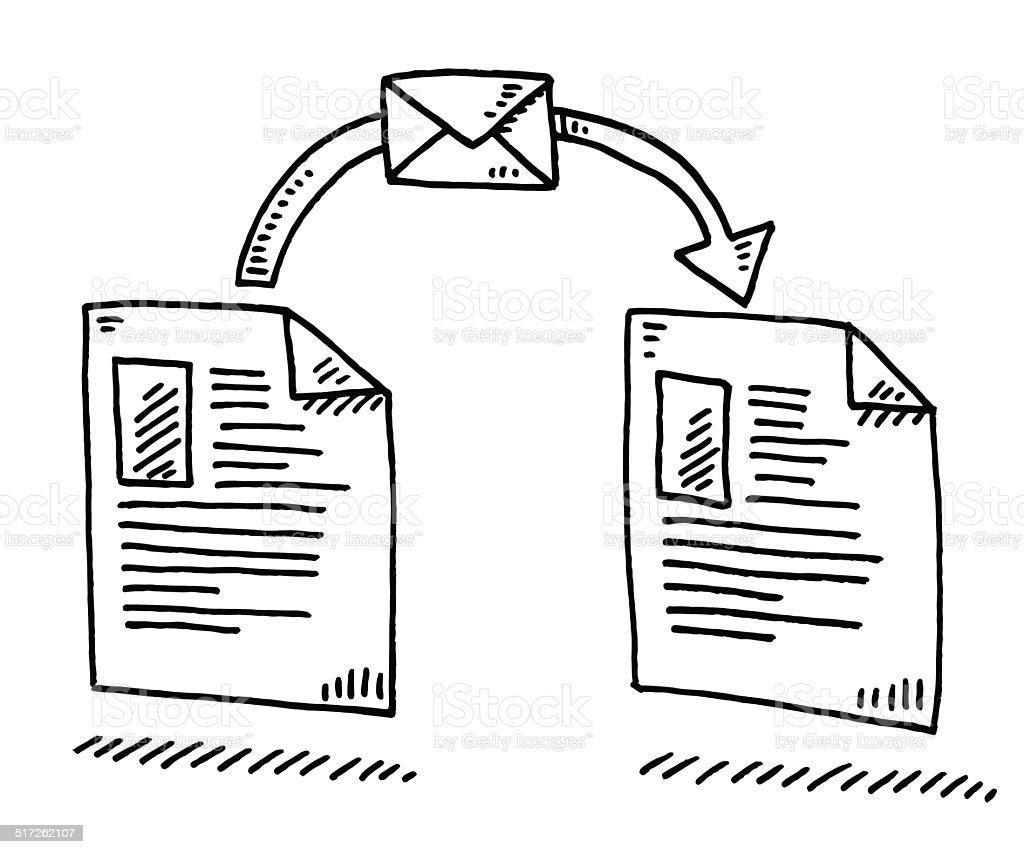 Sending Document Letter Arrow Drawing Stock Vector Art