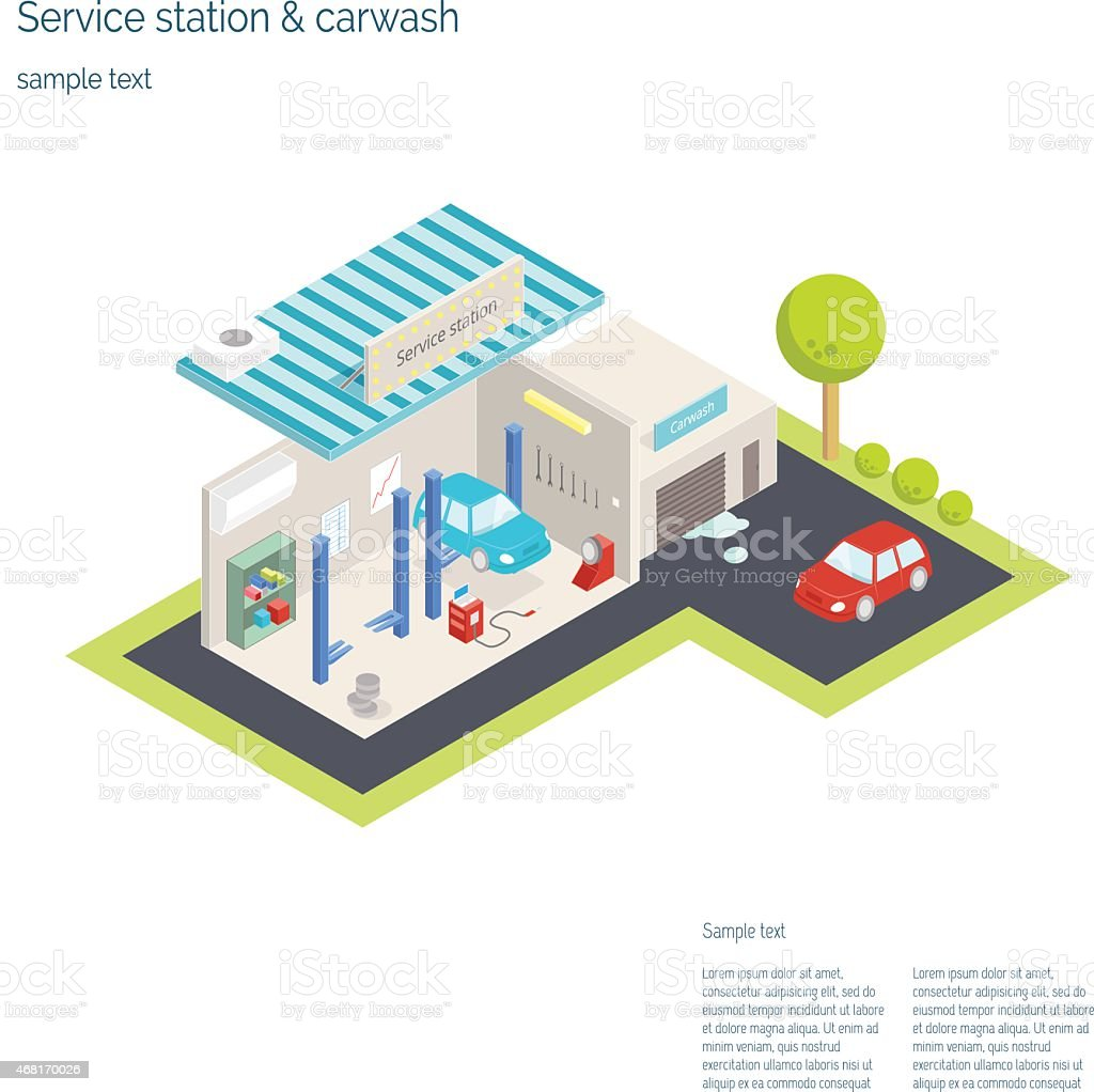 hight resolution of service station and car washing isometric vector illustration illustration