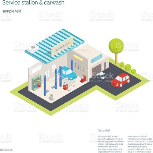 small resolution of service station and car washing isometric vector illustration illustration