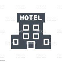 Service Work Hotel Silhouette Icon Building Stock Vector