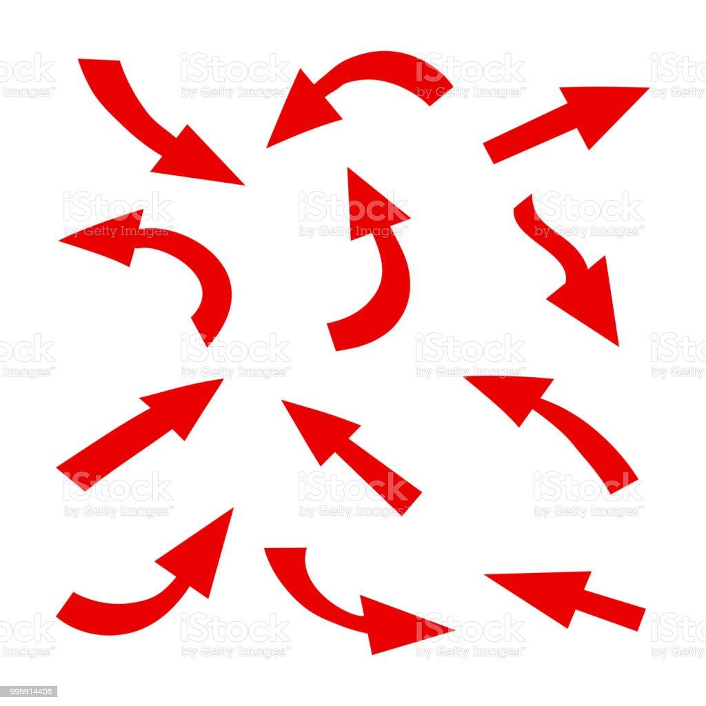 設置箭頭圖示不同的紅色箭頭符號圖表的元素向量向量圖形及更多三角形圖片 - iStock