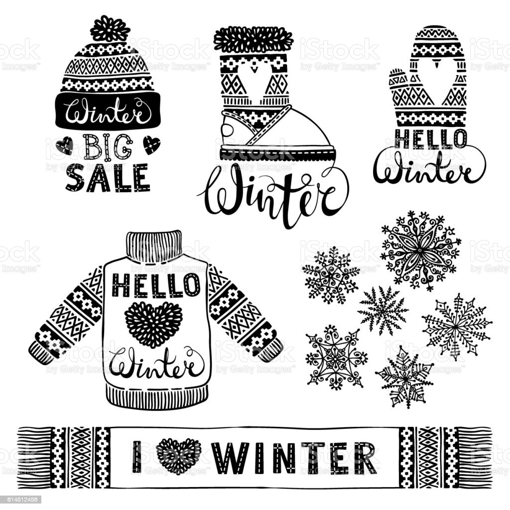 Set Drawings Knitted Woolen Clothing And Footwear Sweater
