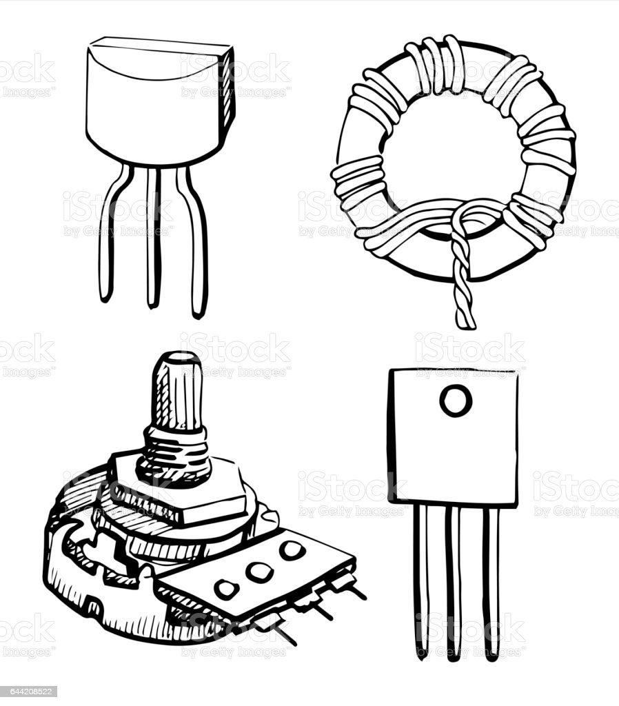 Set Electronic Components Potentiometer Transistor