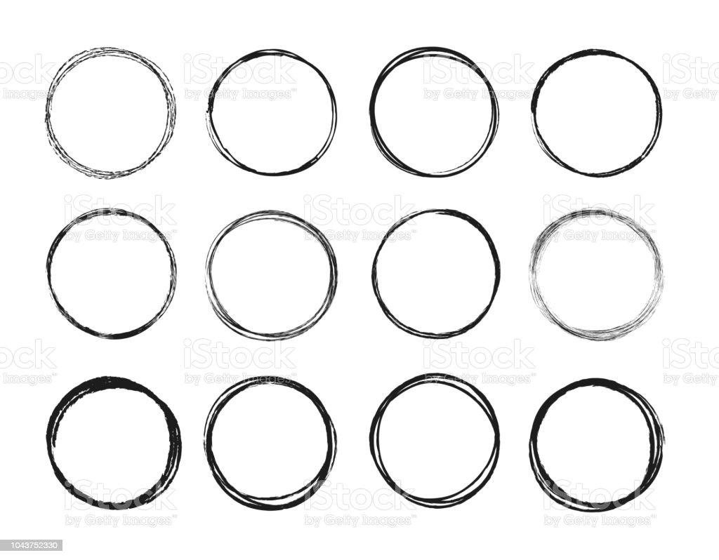 set hand drawn circle