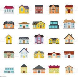 Vetores de Conjunto De Casas Edifícios E Variações De Arquitetura Em Estilo Simples e mais imagens de Aldeia iStock
