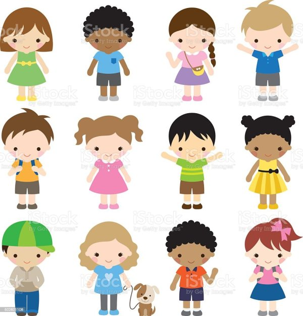set of 12 kid characters stock