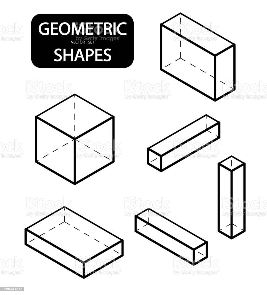 Set Of 3d Geometric Shapes Isometric Views The Science Of
