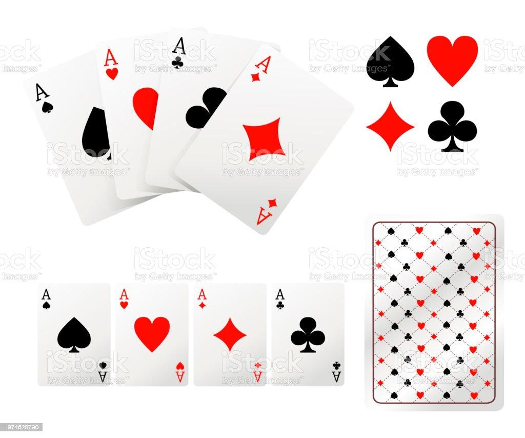 一組王牌撲克牌後側設計在白色背景上隔離的向量插圖網站頁面和移動應用程式設計 向量插圖及更多 紅心 ...