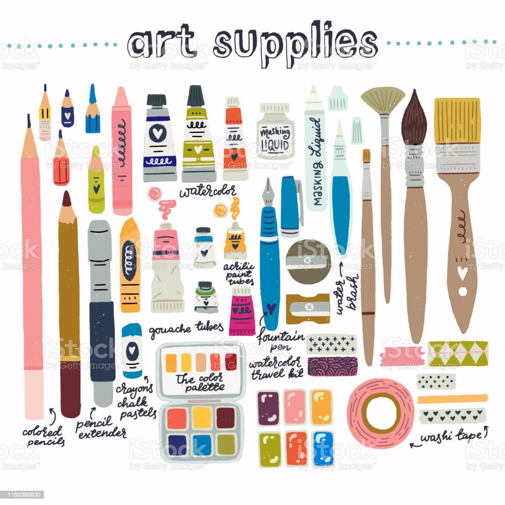 Set Of Art Supplies Clipart Stock Illustration Download Image Now Istock