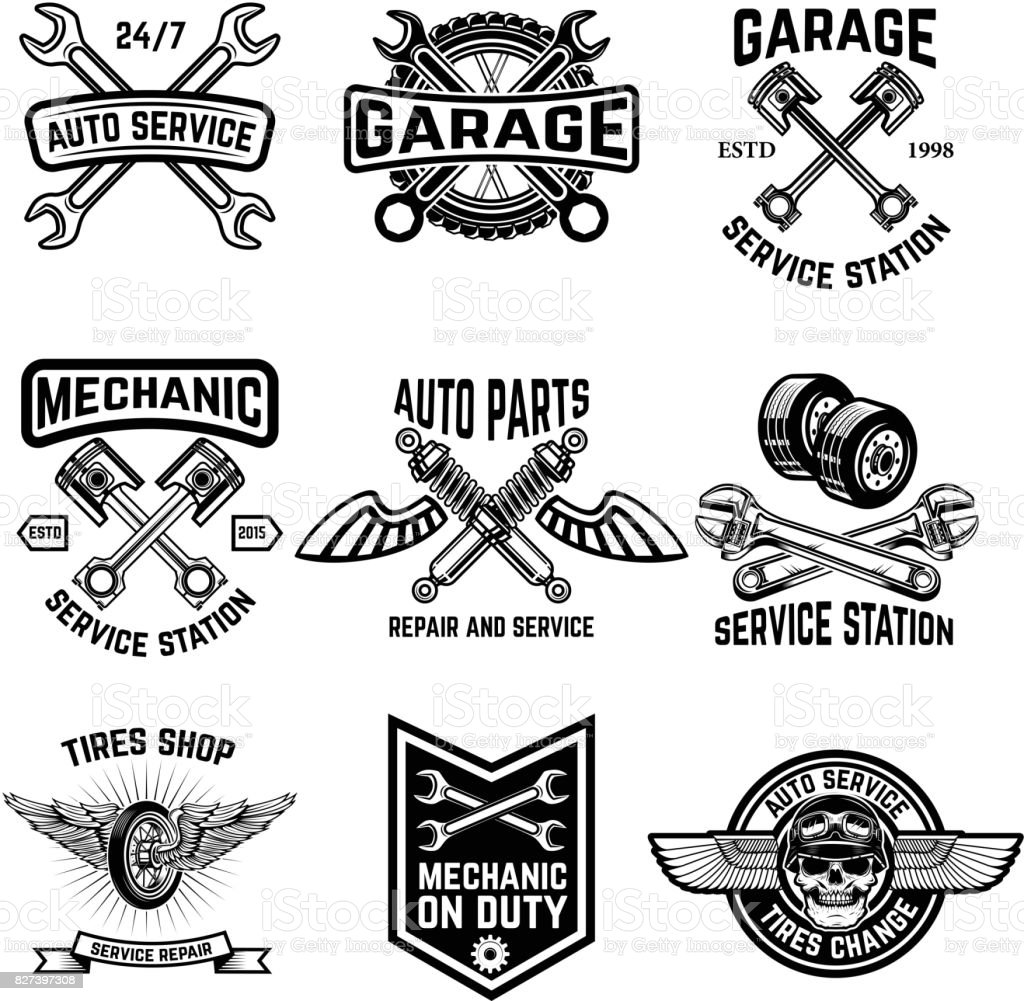 Set Of Auto Service Emblems Service Station Auto Parts