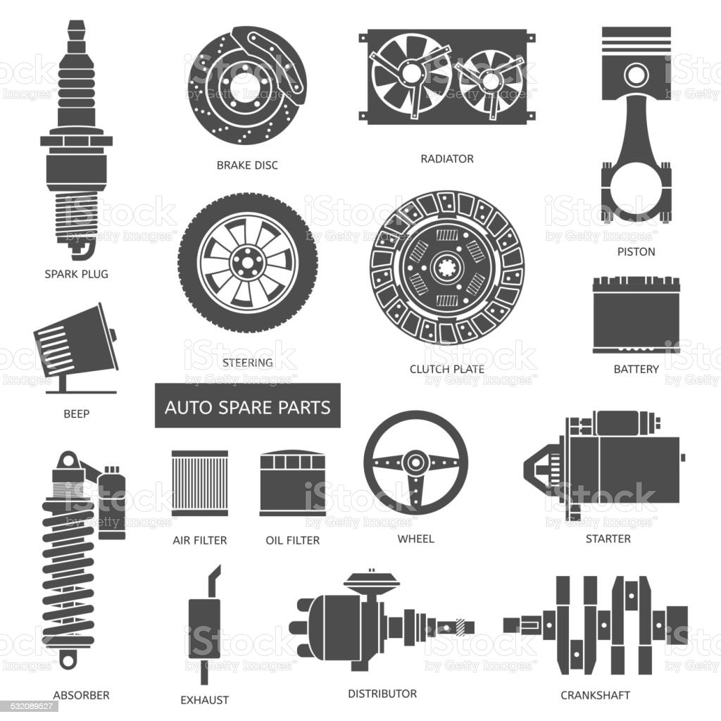 Set Of Auto Spare Parts Stock Vector Art & More Images of