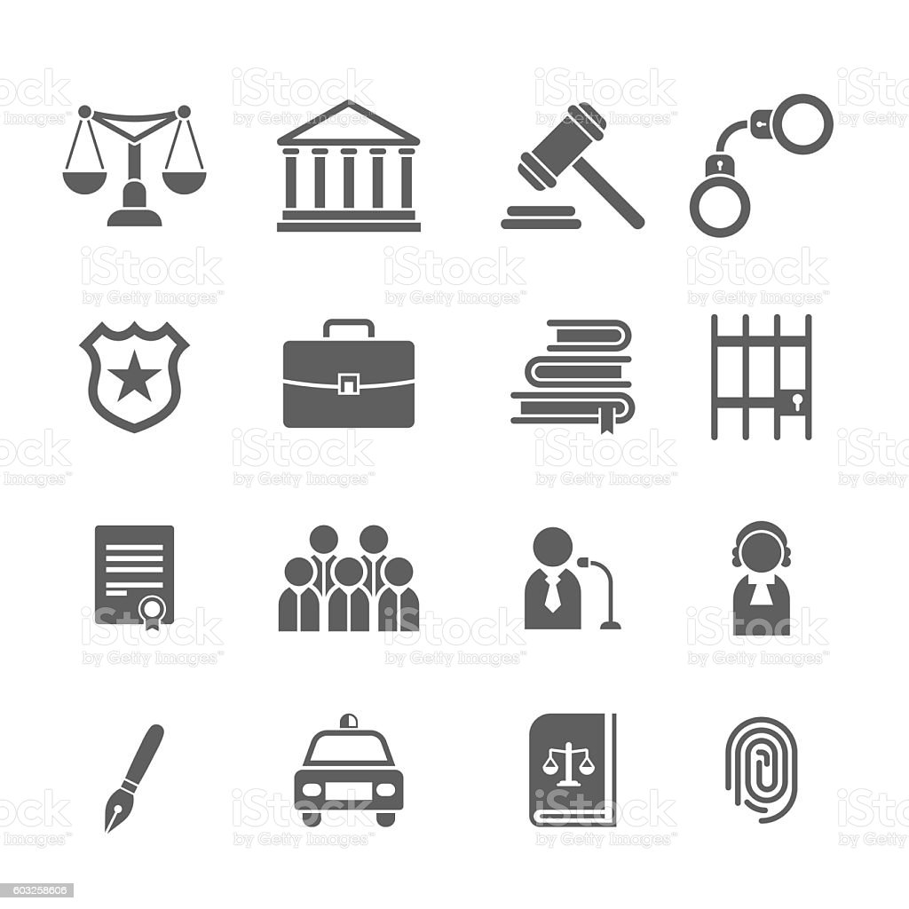 Set Of Black And White Law And Justice Icons Stock Vector