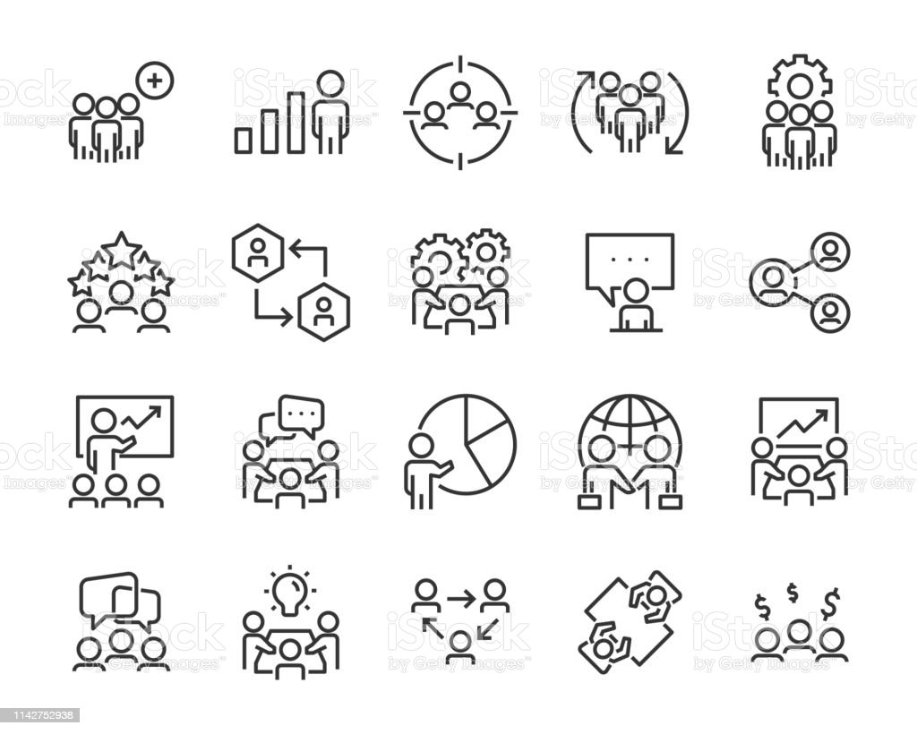 Set Of Business People Icons Such As Meeting Team