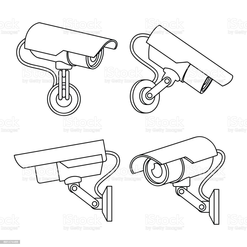 Set Of Cctv Camera In Thin Line Style Stock Vector Art