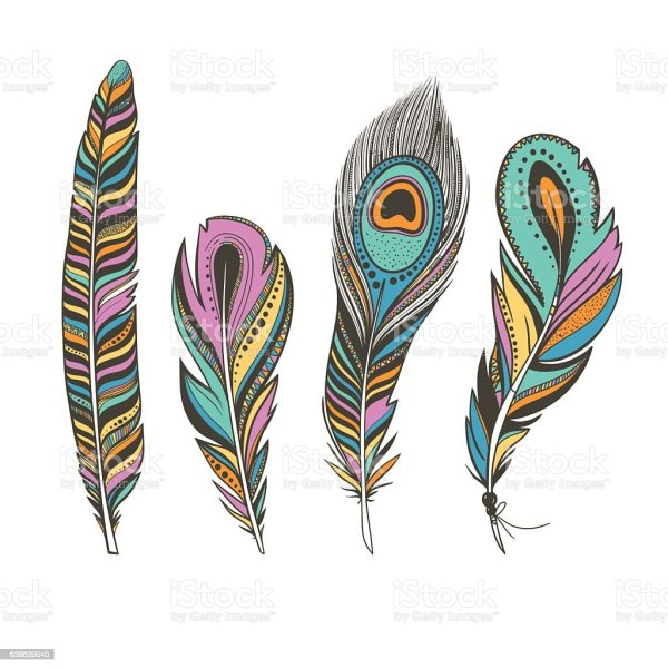 Set Of Colorful Bird Feathers With Ethnic Ornaments Stock Vector Art & Animal