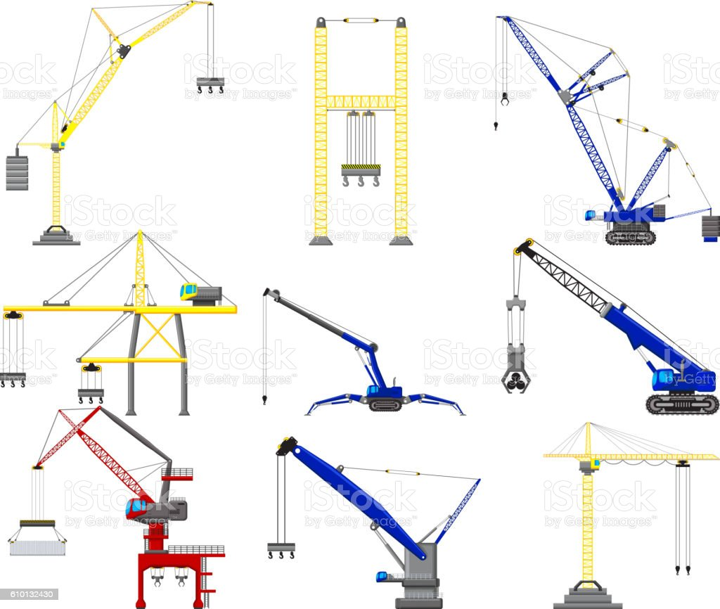 hight resolution of set of construction crane stock vector art u0026 more images of businessset of construction crane