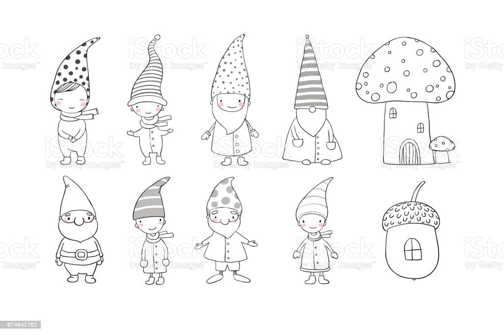 Set Of Cute Cartoon Gnomes Funny Elves Hand Drawing