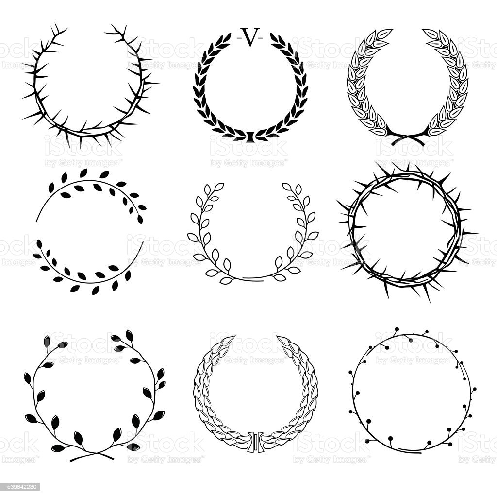 Set Of Different Wreaths Stock Vector Art & More Images of