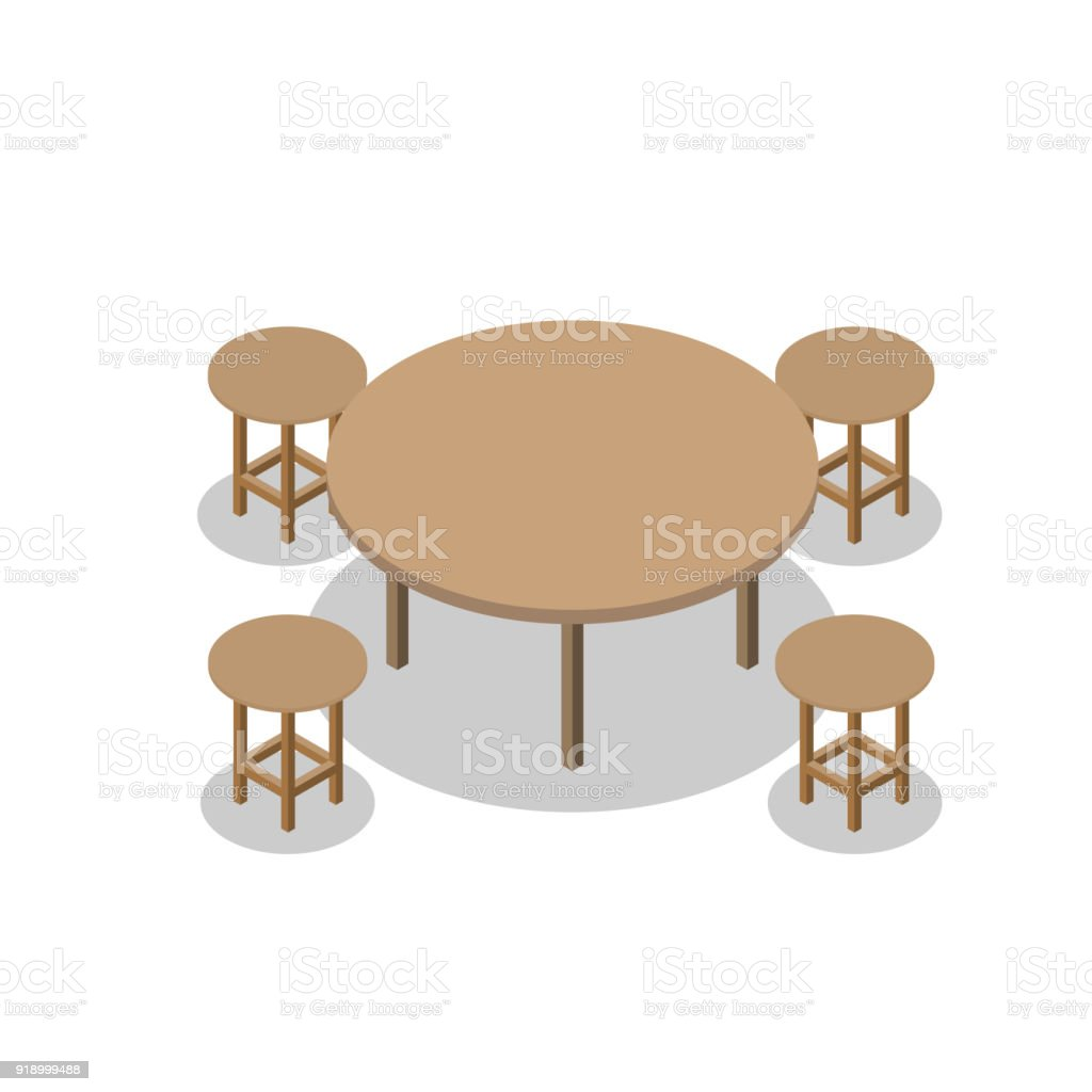four chairs furniture patio tall table and set of dining or cafe wooden with isometric drawing vector illustration