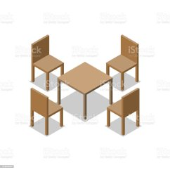 Four Chairs Furniture Chair Top High Set Of Dining Or Cafe Wooden With Table Isometric Drawing Vector Illustration