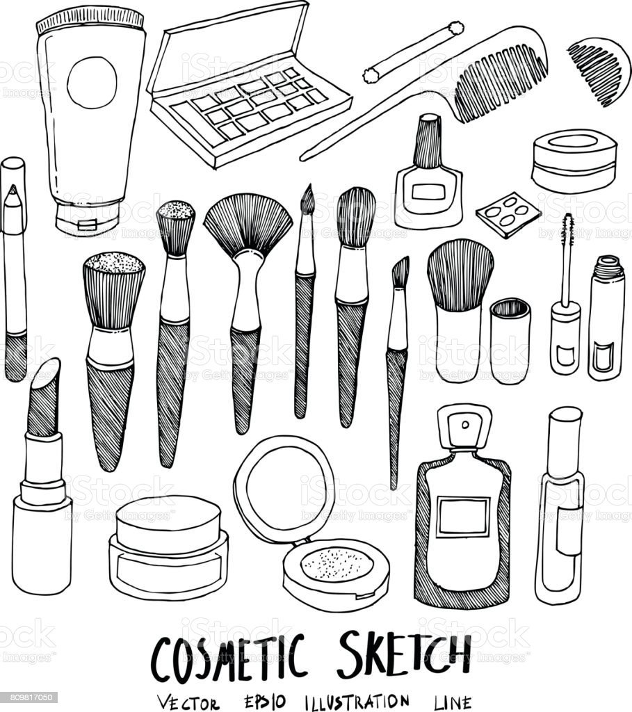 Set Of Doodle Cosmetic Hand Drawn Sketch Line Vector