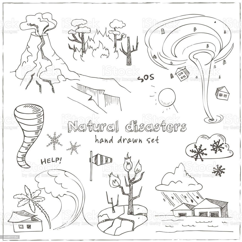 Conjunto De Desenhos De Esboços Catástrofes Naturais