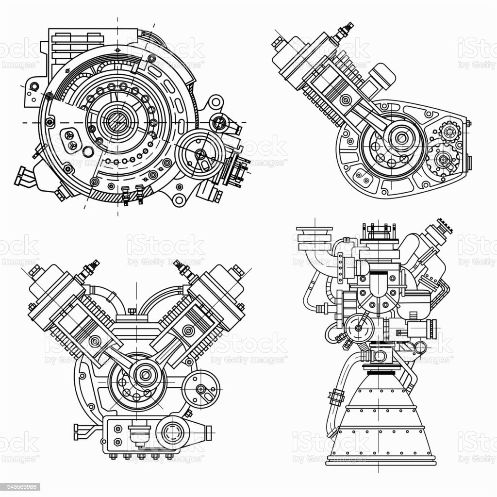 Set Of Drawings Of Engines Motor Vehicle Internal