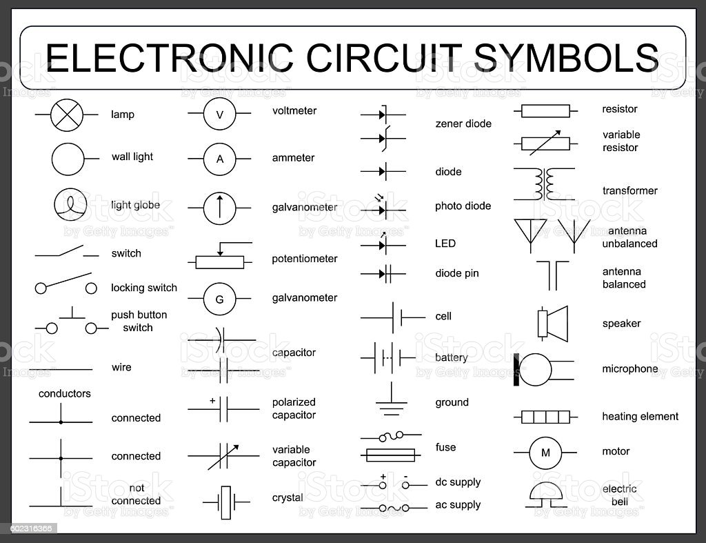 Set Of Electronic Circuit Symbols Stock Vector Art & More