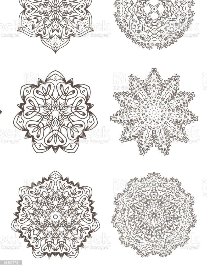 Ilustración De Conjunto De Looks étnicos Fractal Mandala Vector