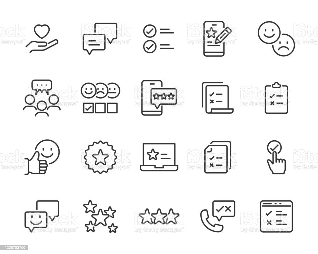 Set Of Feedback Icons Customer Opinion Marketing Research